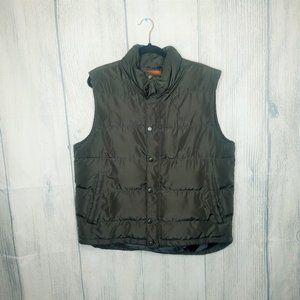 mens olive green st. johns bay puffer vest, size L